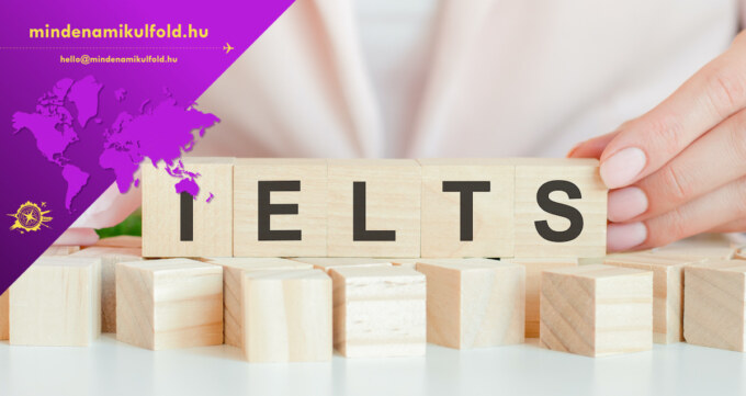 ielts text on wooden block in hand, concept